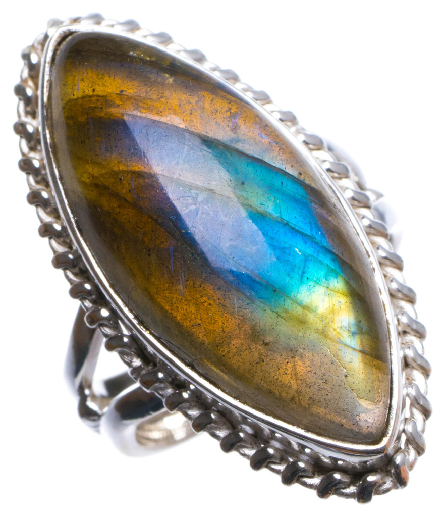 Natural Blue Fire Labradorite Handmade Unique 925 Sterling Silver Ring, US size 6 X2500 natural blue fire labradorite handmade boho 925 sterling silver earrings 1 25 u0962