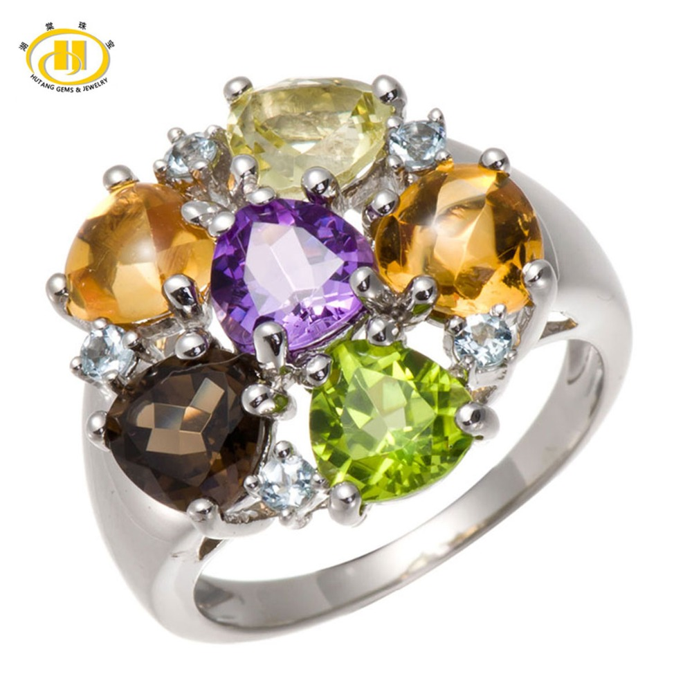 Hutang 100% Natural Multi-color Gemstones Aquamarine Peridot Citrine Solid 925 Sterling Silver Rings Fine Fashion Stone Jewelry