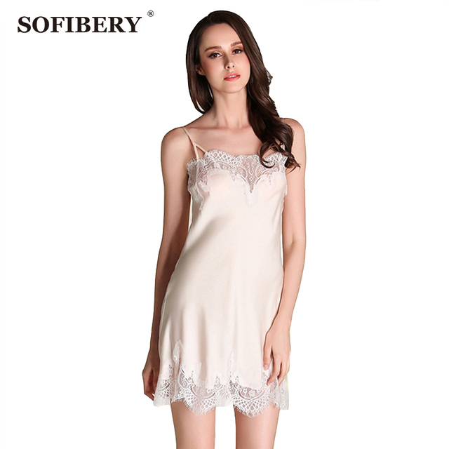 e280fdd2a0 SOFIBERY Women s Nightgowns Sleepshirts Ladies Sling Lace Skirt Ladies sexy  French home service Ladies word shoulder strap Skirt