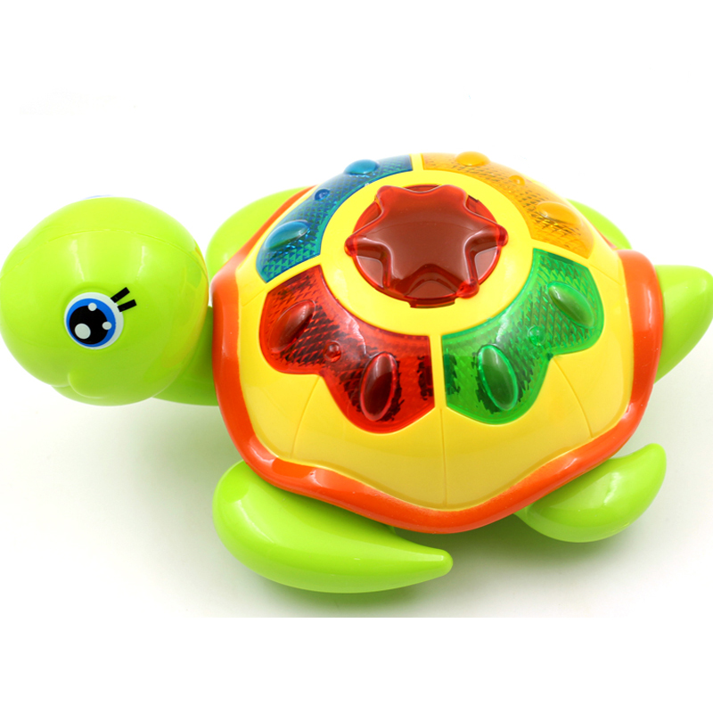 Fun Toys Will Make A Small Turtle Electric Toy Universal Turn Light Music Baby Crawling Toys Anti-stress Squishy Tricks Toy