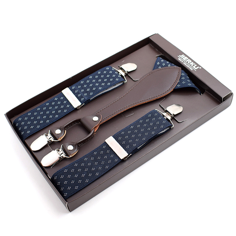 Man Leather Suspenders Braces With Y back 4 clips Braces Adjustable Printed straps Fashionable casual Suspenders