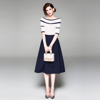 New Casual Sexy Club Women Skirt Suits 2018 Summer Ladies Knit Blouses+Solid Blue A line Skirt Sets 2pc