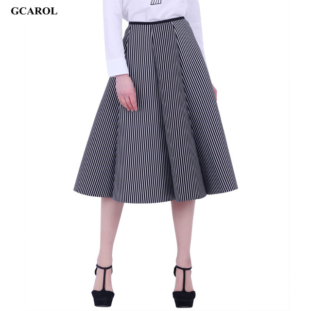 Women New Black And White Vertical Striped Long Skirt Space Cotton Fashion OL Ball Gown Umbrella Skirt