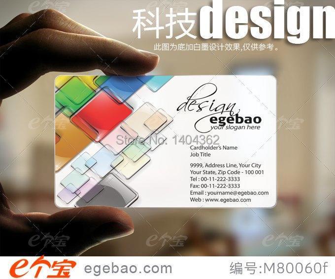 Couleur Et Conception Personnalise Gratuite Simple Face Impression Carte De Visite PVC Transparent Cartes N 2266