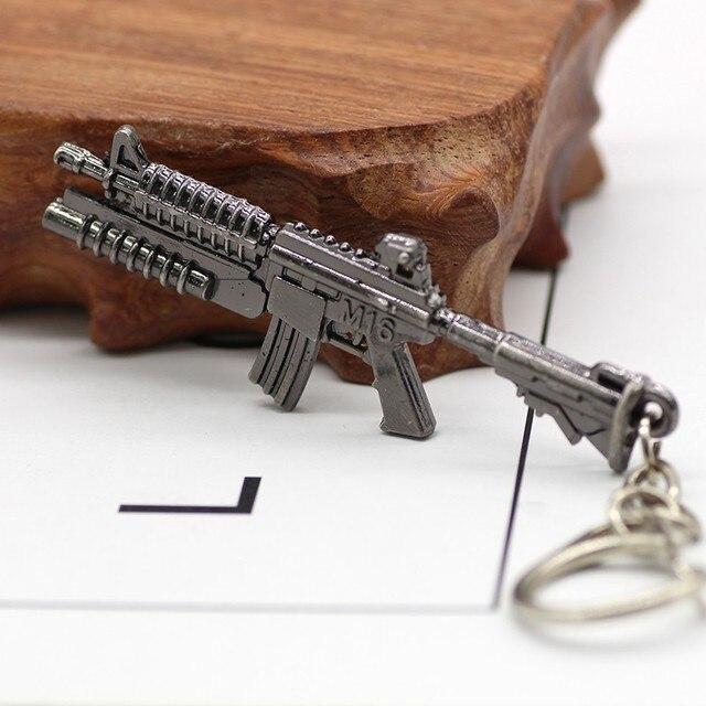 3D Simulation Gun Pendant Keychain Cool Men Metal Weapon Model AK47 M16 M4A1 AWM Revolver Guns Key Ring For Car Holder Chaveiro 5