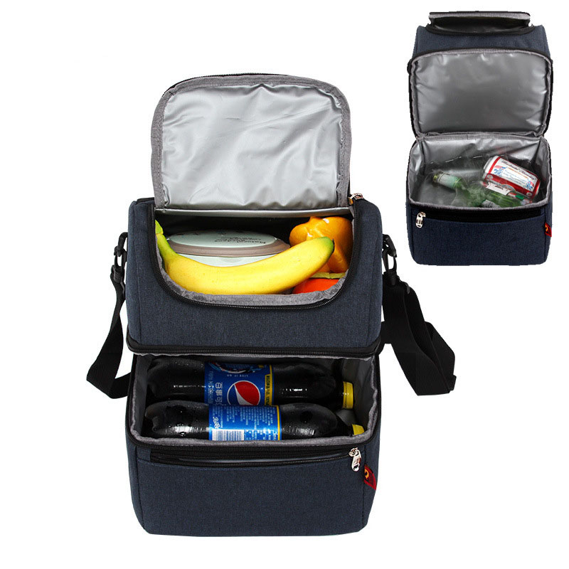 Waterproof Soft Picnic Bag Double Decker Insulated Lunch Bag Soft Cooler Bag Shoulder Thermal Lunch Cooling Bag For Work In City