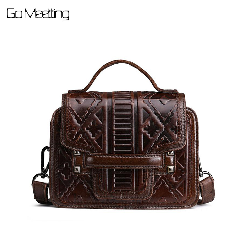 Vintage oil wax nature leather women handbags head layer cowhide Crossbody Messenger bag shoulder bag retro embossed women bags fashion leather handbags luxury head layer cowhide leather handbags women shoulder messenger bags bucket bag lady new style