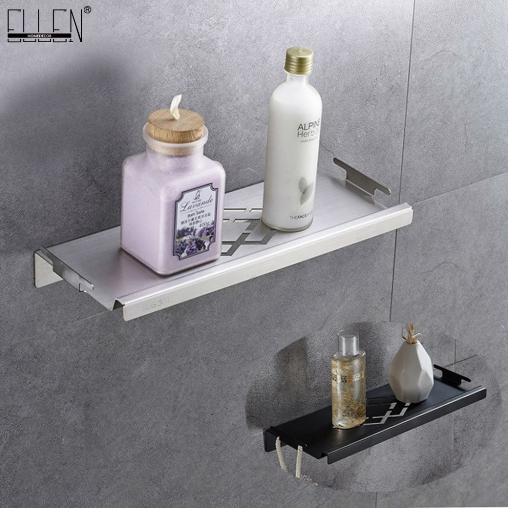 Bathroom Corner Shelves Brushed Nickel 304 Stainless Steel Wall Bathroom Shelf Shampoo Storage Accessories Shelves ELF42 bathroom shelves stainless steel wall mount shower corner shelf shampoo storage basket modern home accessories holder wf 18067