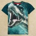 Meninos em torno do pescoço t camisa 1 cores varejos nova desgaste dos miúdos moda dos desenhos animados 3d tiranossauro rex dinossauro impressão camiseta manga curta