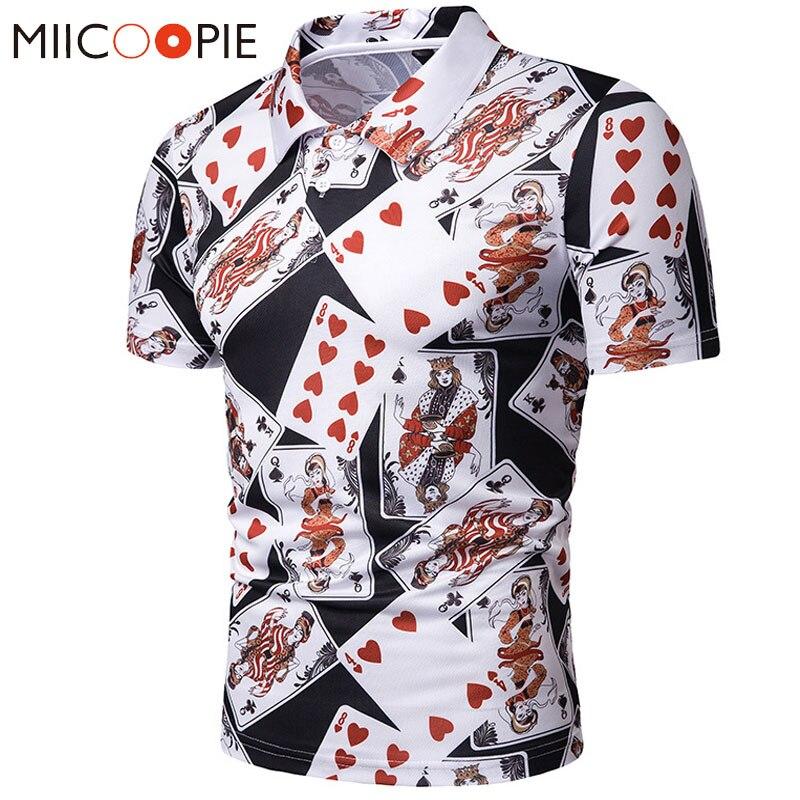 Nouveau été Polo Homme manches courtes 3 D cartes à jouer imprimé Polo Homme De Marque Haute Qualite t-shirt drôle chemise d'été