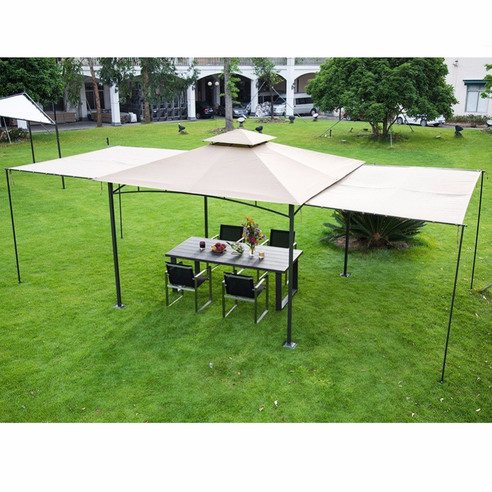 Abba Patio 10x10 Ft Outdoor Art Steel Backyard Shelter Patio Gazebo With 2  Privacy Panels Beige In Gazebos From Home U0026 Garden On Aliexpress.com |  Alibaba ...