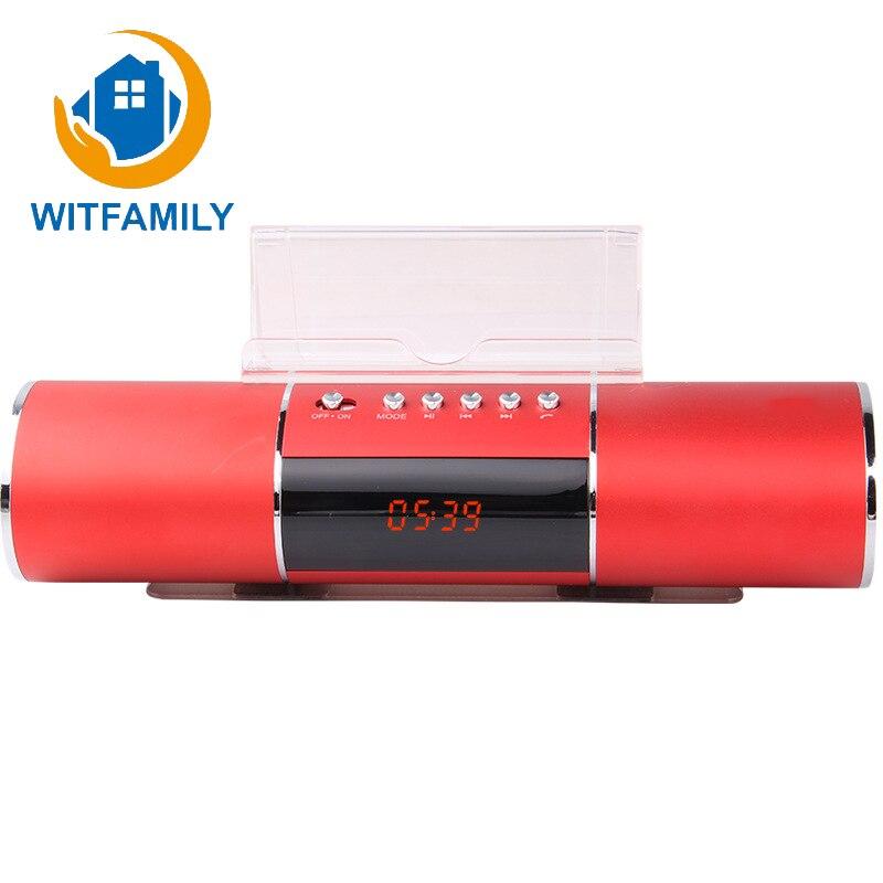 Lange Cilinder Radio Wekker Lui Ondersteuning Bluetooth Mobiele Telefoon Speakers Plug-in Audio Usb Opladen Een Klik Opname