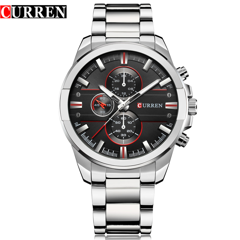 New CURREN Fashion Luxury Men Watches Relogio Masculino Full Steel Clock Army Military Quartz-Watch Wristwatch Reloj Hombre