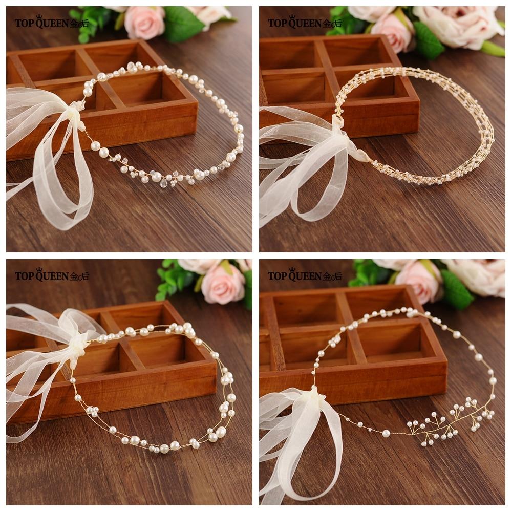 TOPQUEEN Handmade Headdress Beaded Rhinestone Wedding Headband Bride Headwear Party Jewelry Wedding Accessories Low Discount