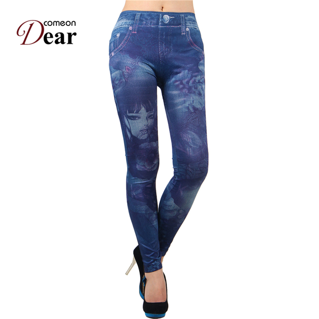 d0084fab5d99d Comeondear Print Seamless Dark Blue Sexy Pants Leginsy Damskie Pantalones  De Deportivas Mujer TB2373 Jeans Sexy