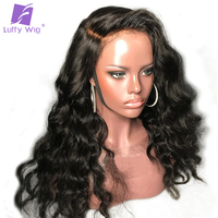 Luffy Preplucked Full Lace Human Hair Wigs With Baby Hair Body Wave Indian Non Remy Full Lace Wig Bleached Knots Natural Color