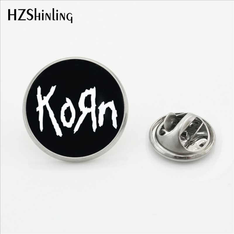 2017 Terbaru Korn Kerah Pin Bros Handmade Bulat Heavy Metal Rock Band Kubah Kaca Fashion Perhiasan Stainless Steel Kerah Pin