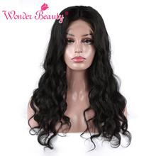 Wonder Beauty Brazilian Body Wave Pre Plucked Lace Frontal Wig Non Remy Glueless Lace Front Human Hair Wigs For Black Women