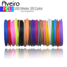 50 Meters 10 Color 100 Meter 20 Color 3D Pen Wire Threads for Low Temperature 3D Printer Pen Refill PCL Filament Materials