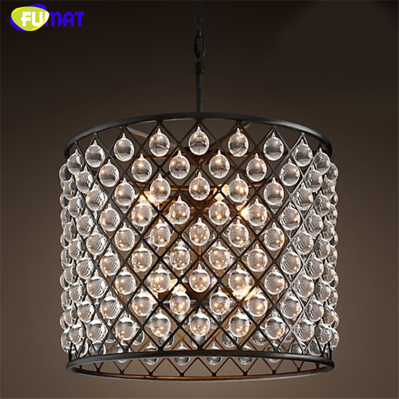 American Country Iron Crystal Light Creative Retro Suspension Light Living Room Bedroom Crystal Chandelier недорого