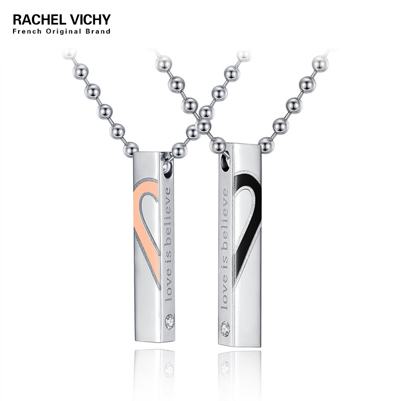 """Heart Shape """"Love Is Believe"""" Stainless Steel Couple Lovers Half Heart Pendant Necklace <font><b>Puzzle</b></font> Pendant Necklace (One Pair) N1210"""