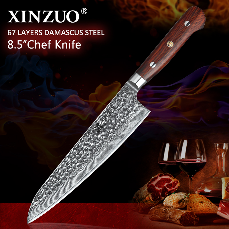 XINZUO 8.5'' inch Western Chef Knife Damascus Kitchen Knife with Rose Wood Handle New arrival Super Sharp 210mm Gyuto Knives-에서주방 칼부터 홈 & 가든 의  그룹 1