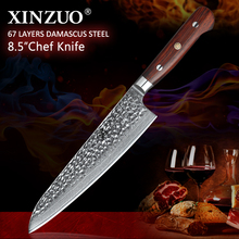 XINZUO New arrival Damascus kitchen knife 8 chef super sharp gyuto with Pakka wood handle melon free shipping