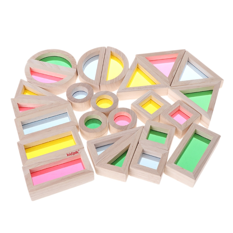1Set/24Pcs Rainbow Acrylic Wooden Building Blocks Baby Sensory Toy Early Educational Toy Montessori Kids Toy Gift-m20 2017 new arrival baby montessori toys wooden rainbow balance blocks toy colorful beads seesaw early education childrens day gift