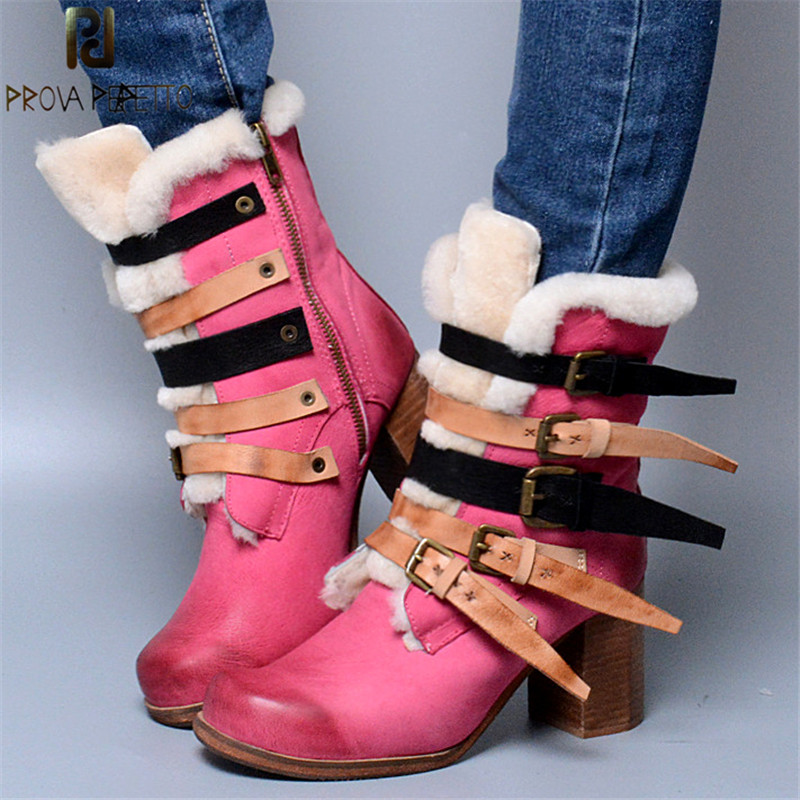 Prova Perfetto Sweet Pink Color Genuine Leather Snow Boots Buckle Strap With Fur Inner Warm Chunky High Heel Woman Mid Boots Prova Perfetto Sweet Pink Color Genuine Leather Snow Boots Buckle Strap With Fur Inner Warm Chunky High Heel Woman Mid Boots