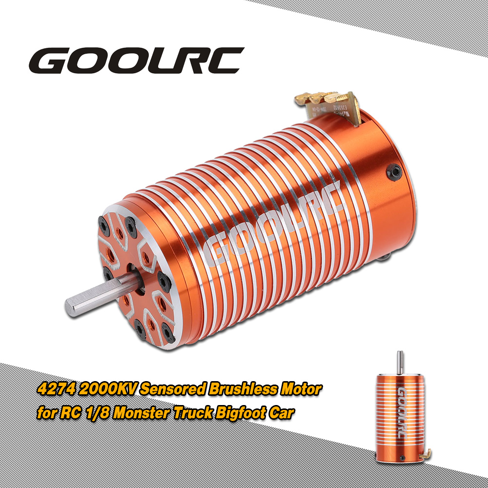 GoolRC 4274 2000KV 4 Poles Sensored Brushless Motor for RC 1/8 Monster Truck Bigfoot Car page turners 4 bigfoot