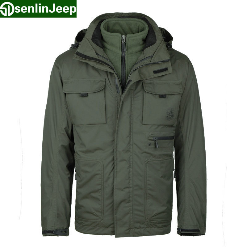 Senlin Jeep Brand Men's Classic 3 in 1 Jackets Male 2 Pieces ...