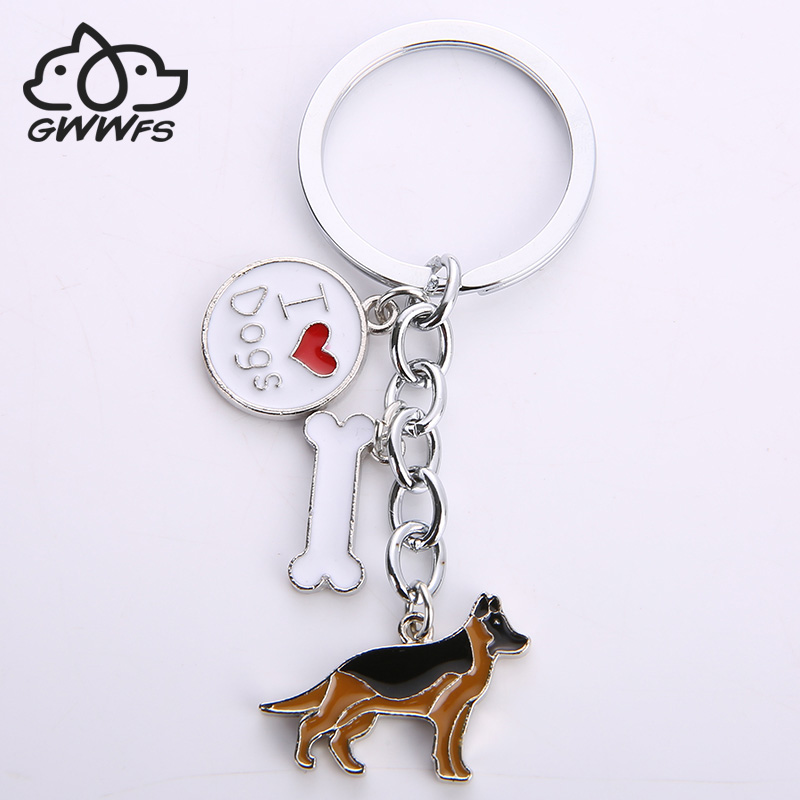 German Shepherd dog key chains for men women silver color metal alloy bone charm pendant male famle car bag keychain key ring