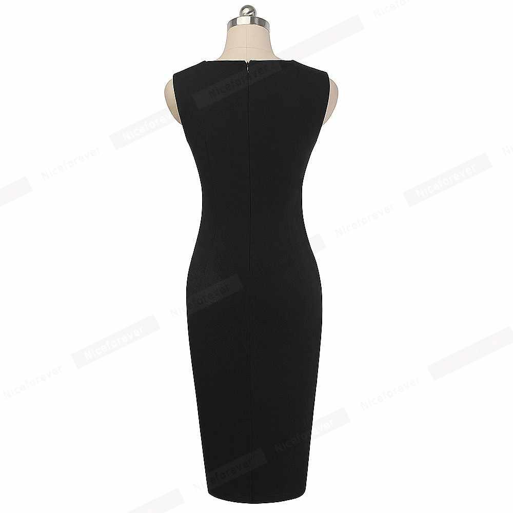 Женское винтажное платье Nice-Forever, элегантное облегающее контрастное пестрое платье для офиса и вечеринок, модель B517