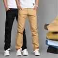 Novo Design Homens calças De Algodão Fino Calça Casual Em Linha Reta Calças Dos Homens de Negócios Calças Moda Sólidos Khaki Preto