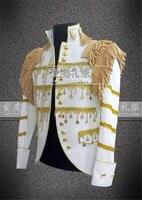 Hombres blanco outwear jacket bailarín del cantante nightclub bar novio hombres bar moda hombres custumes