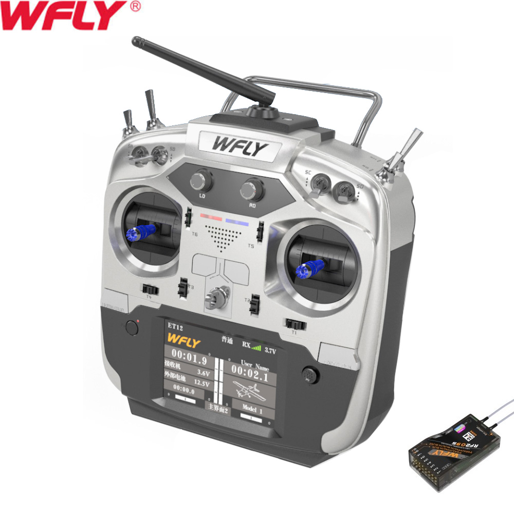 WFLY ET12 2 4GHz Remote Controller 12CH Radio Transmitter with RF209S Receiver For RC Drone Car Boat in Parts Accessories from Toys Hobbies