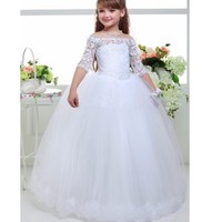 New Flower Girl Dresses With Sleeve For Wedding Little Girls Kids Child Dress Ball Gown Party