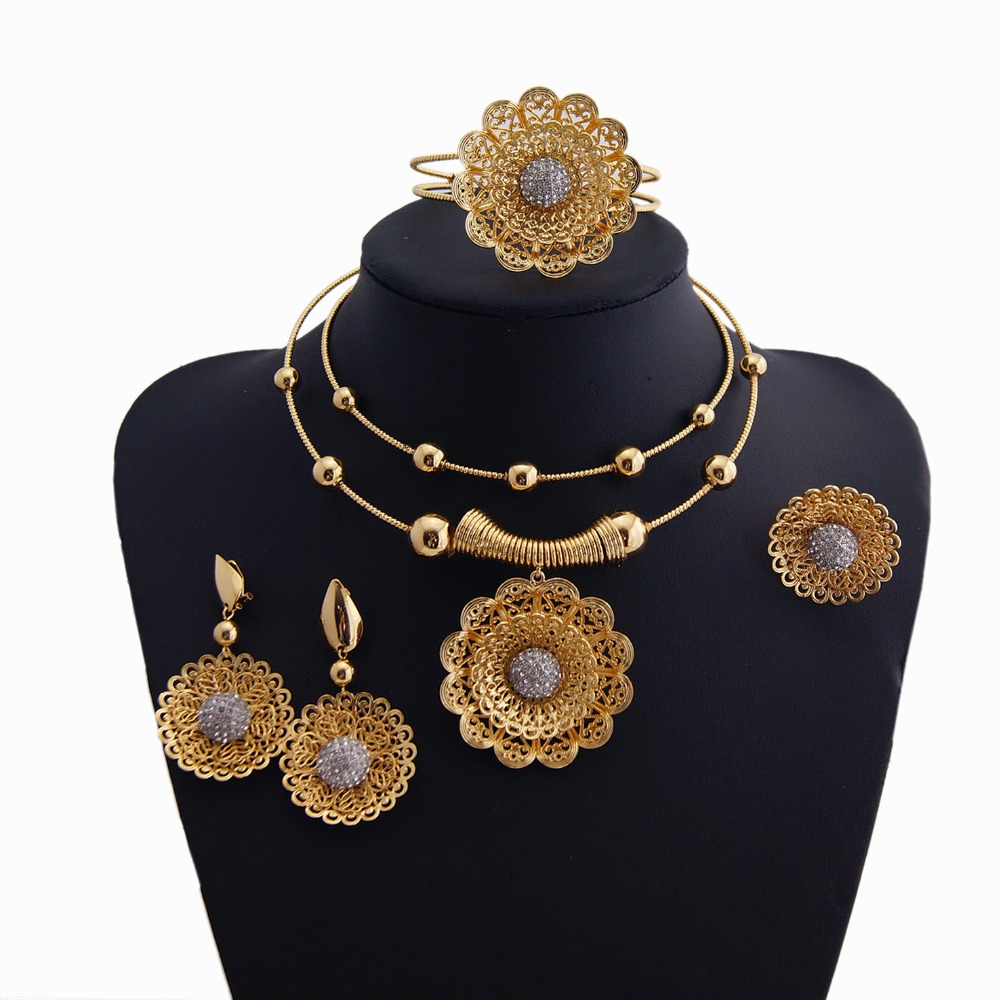 YULAILI New Coming Bridal Wedding Dubai 24K Gold Plating Pure Gold Color Party Costume Copper Material Jewelry Sets yulaili new coming pure yellow flower bridal wedding jewelry set nigerian ladies party wedding accessories