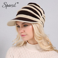Sparsil Women Winter Knitted Hats Wool Cotton Visors Striped Casual Caps Adjustable Hair Hole Female Cap