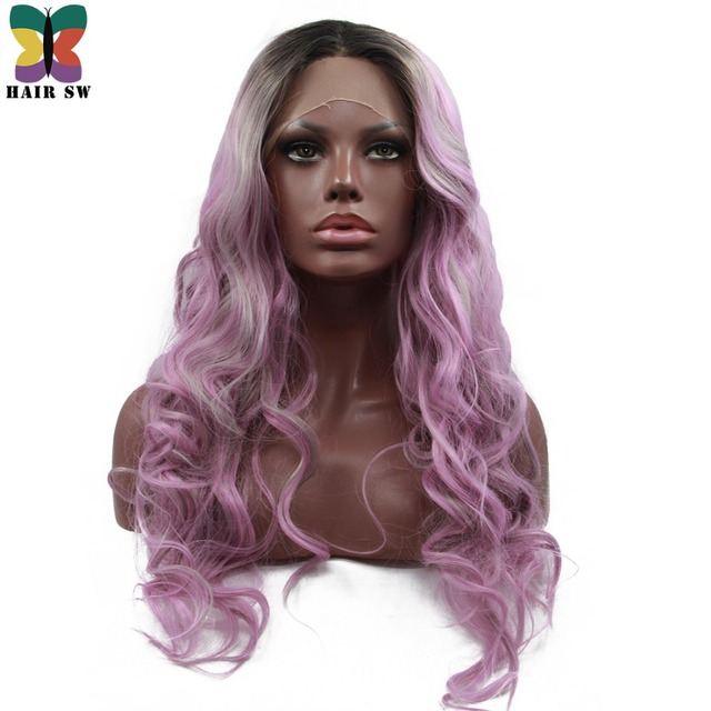 Hair Sw Long Loose Wave Synthetic Lace Front Wig Purple Ombre With