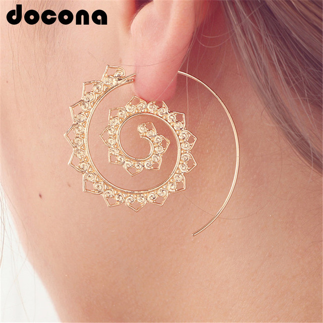 docona Ethnic Personality Round Spiral Drop Earrings Exaggerated Love Heart Whir