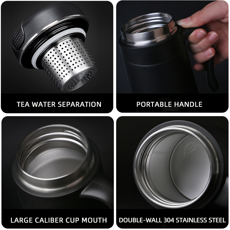 Pinkah Thermos 380ml With Tea Infuser Coffee Filter Stainless Steel Vacuum Insulated Coffee Mug Home Office Tea Cup With Handle 6