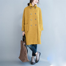 Nicelegant Autumn Winter Korean Version Women Coat Double breasted Turn Down Fit for Fat MM Thick Wool Blend Coat(China)