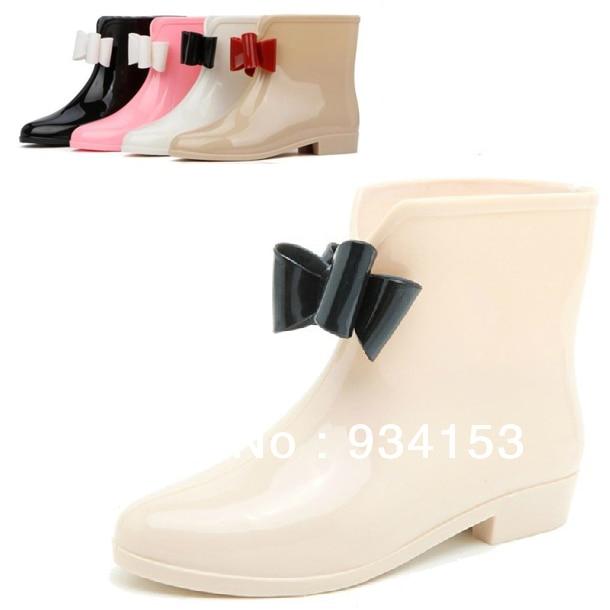 Cute Bowknot Rubber Flat Heel Ankle Rain Boots Fashion Galoshes Rain Shoes