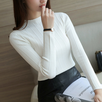 Autumn And Winter New Slim Female Knitted Jacket Was A Solid Color Semi High Round Neck