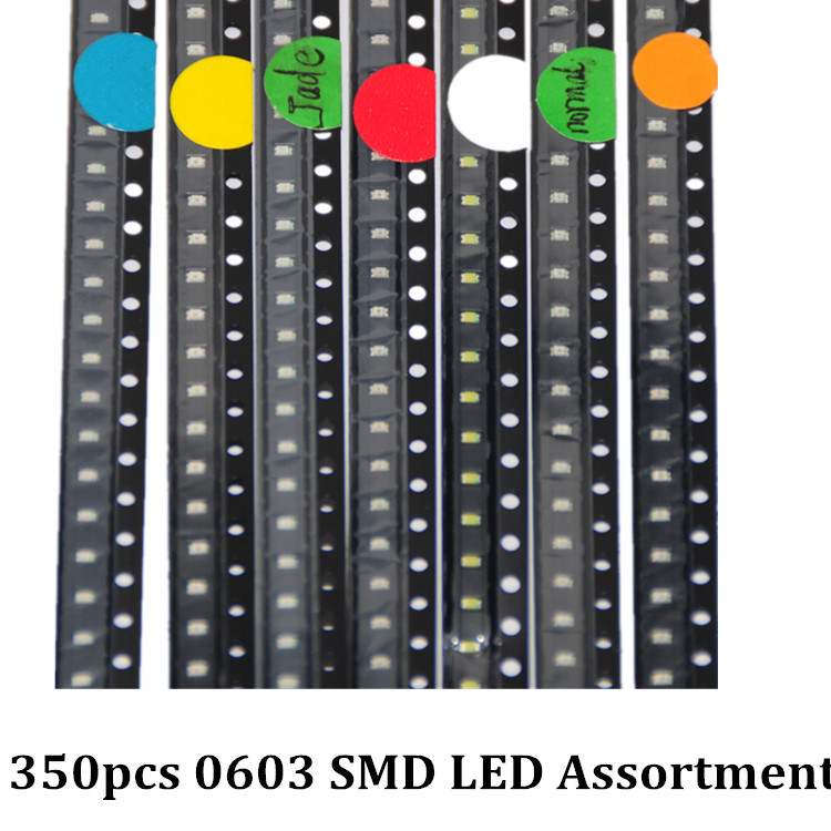 Selfless 350pcs Smd Leds Diode 0603 Assorted Diod Led Light Emitting 0603 Diodes Red Orange Jade-green White Green Blue Yellow 50pcs Each Active Components