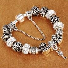 цена на DEERIPA Authentic Silver Plated 925 Crown Beads Key Crystal Heart Charm Bracelet DIY Jewelry Fits Brand Bracelet For Women