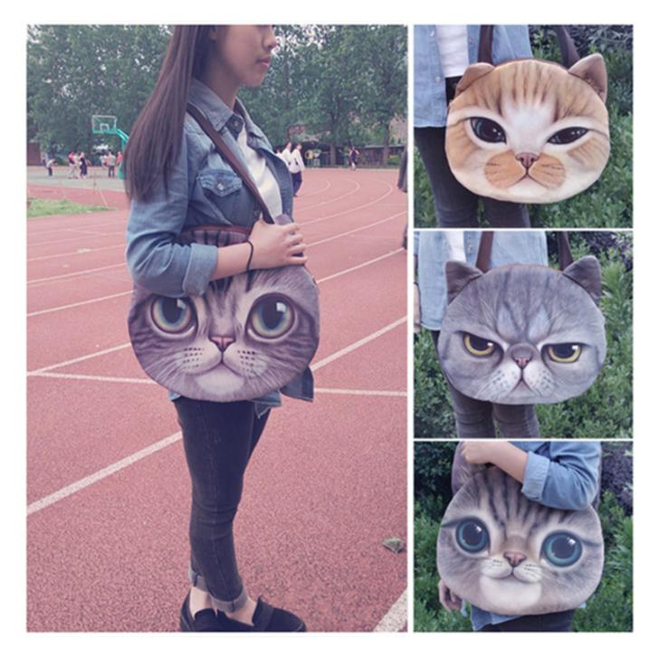 2017 New Ladies Large 3D Printing Cats Big Face Ch...