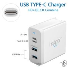 USB-C Ladegerät Adapter Power Lieferung QC 3,0 Typ C PD 3 Port Schnelle Ladegerät für DELL HP ACER Razer samsung