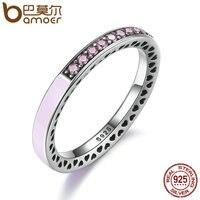 BAMOER 100 925 Sterling Silver Radiant Hearts Light Pink Enamel Clear CZ Finger Ring Women Wedding